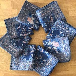 Other - Set Of 8 Vtg Handblocked Floral Paisley Napkins